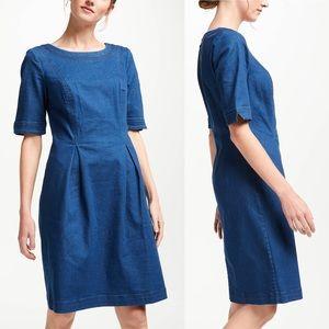 Boden Alice Denim Zip Back Short Sleeve Dress 12 R